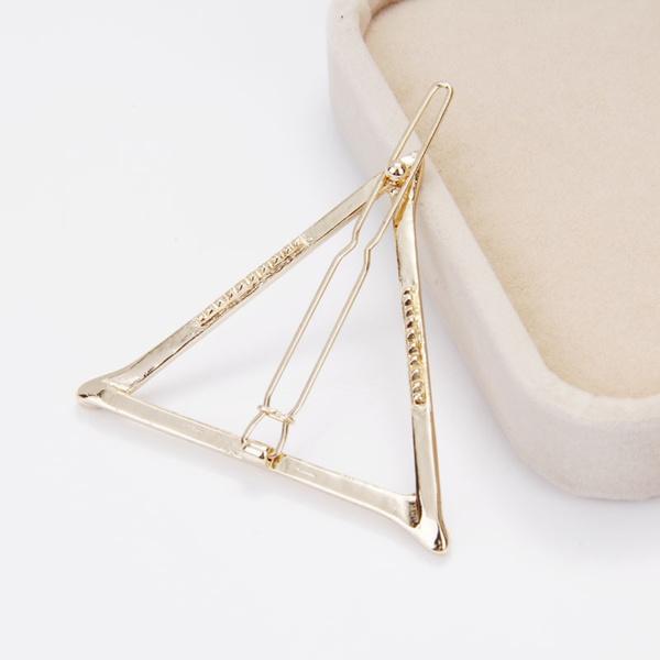 Charm Geometric Triangle Hairpin Hair Clip for Women Girl (Gold,Silver)