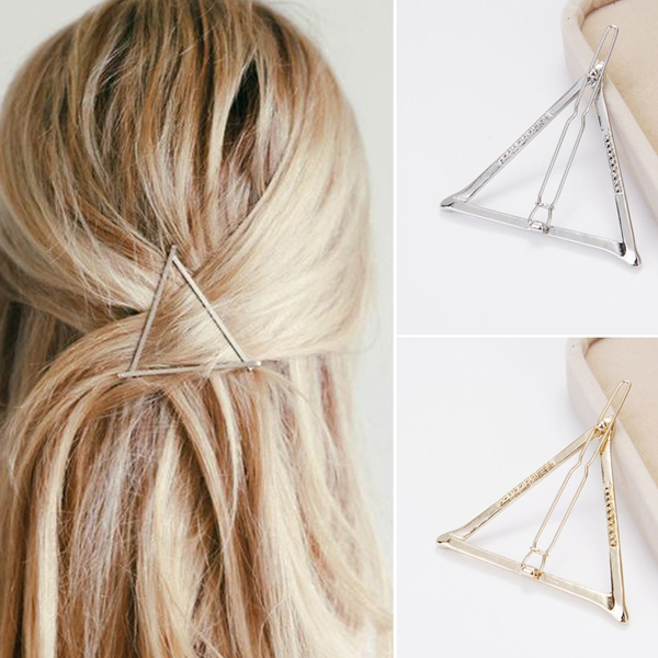 Charm Geometric Triangle Hairpin Hair Clip for Women Girl (Gold,Silver)