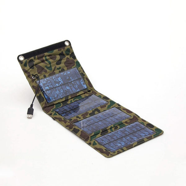 Picture of 7w Portable Solar Powerbank Waterproof Foldable Outdoor Traved Charger Usb Wallet Powerbank Camouflage Army Green Size 5.5v Color Army Green