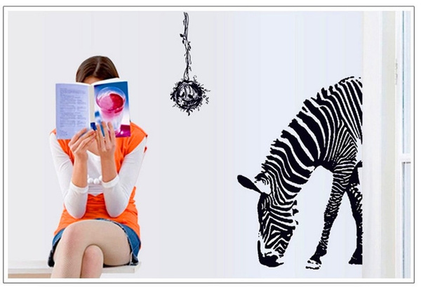 wish | creative wall stickers living room zebra home decor bust