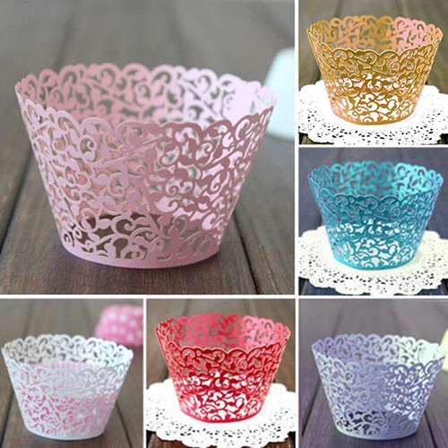 Picture of 12x Wedding Birthday Baby Shower Filigree Vine Decor Wrapper Wraps Cupcake Cases