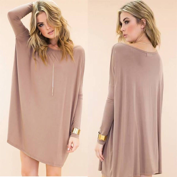 Picture of Casual Long Sleeve Long Tunic Solid Top Scoop Neck T-shirt Dress