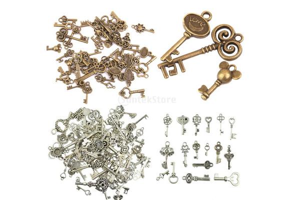 50pcs Vintage Alloy Skeleton Key Pendants Charms DIY Jewelry Making 0.63-2.55 inch