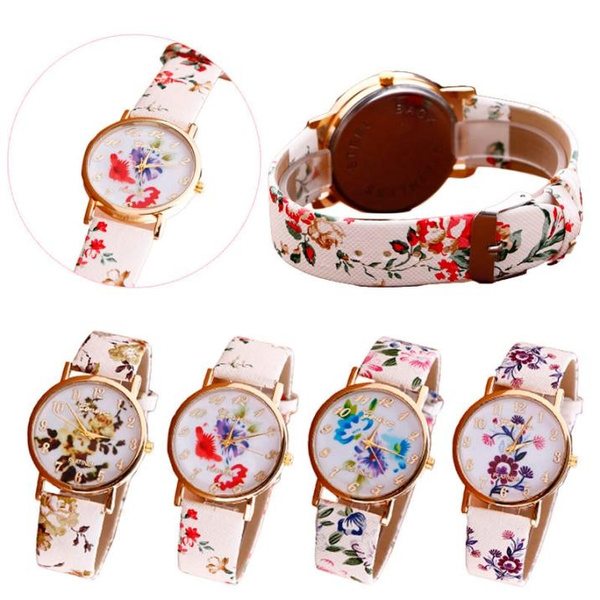 Picture of Women Flower Patterns Leather Band Analog Quartz Vogue Wrist Watches
