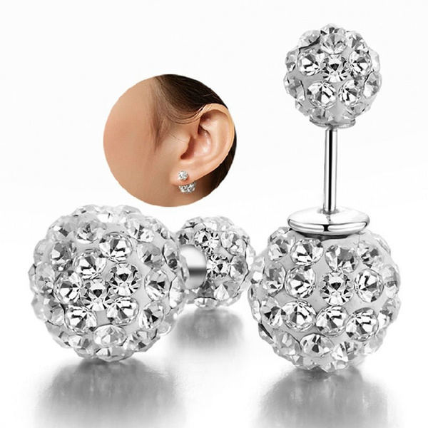 Picture of Elegant 1 Pair 925 Sterling Silver Crystal Ball Ear Stud Earring Rhinestone Size One Size Color Silver