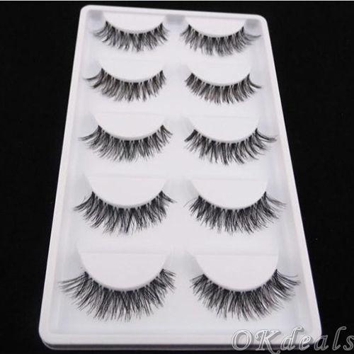Picture of 5 Pairs Lot Black Cross False Eyelash Soft Long Makeup Eye Lash Extension