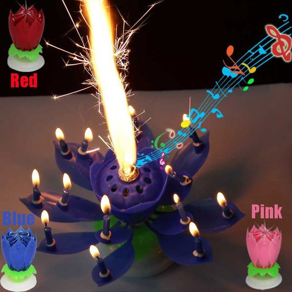 Picture of Intelligent Multicolors Musical Blossom Lotus Flower Rotatable Birthday Candles