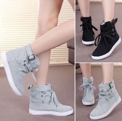 Picture of Fashion Women's High-top Buckle Shoes Casual Ankle Boots Sport Sneakers