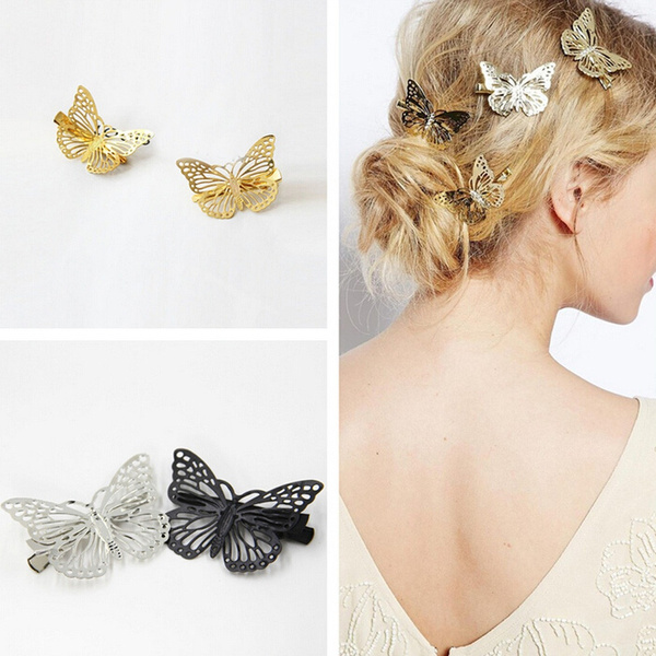 1Pair Women Unique Design Golden Butterfly Hair Clip Headband Hair Accessories Headpiece