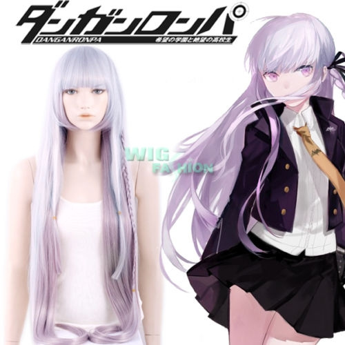 Danganronpa Dangan-Ronpa Kyoko Kirigiri Grey Mixed Light Purple Cosplay Wig