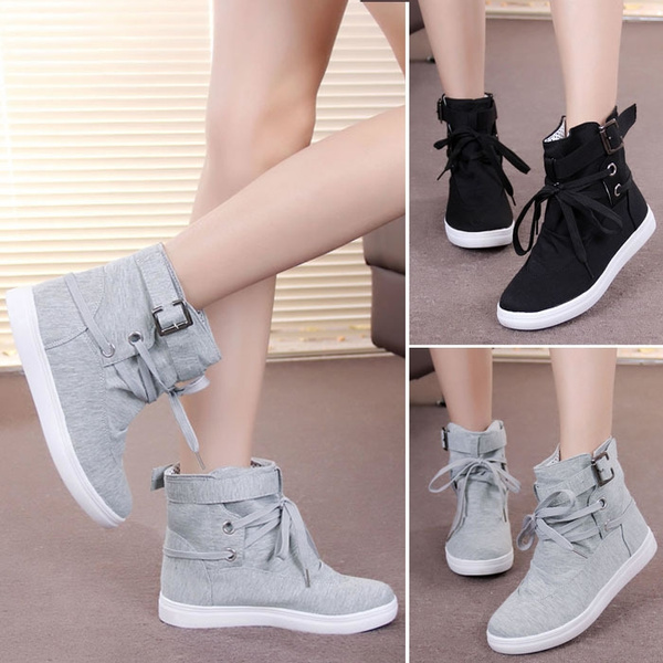 59ef19ae5e9f7 Womens Girls Students Autumn Spring Winter Lace-Up Ankle Boots ...