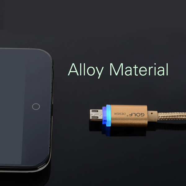 Golf Intelligent LED Metal USB Cable for Android Phones, 2.1A Output, Strong Compatibility, Aluminium Alloy Nylon Material