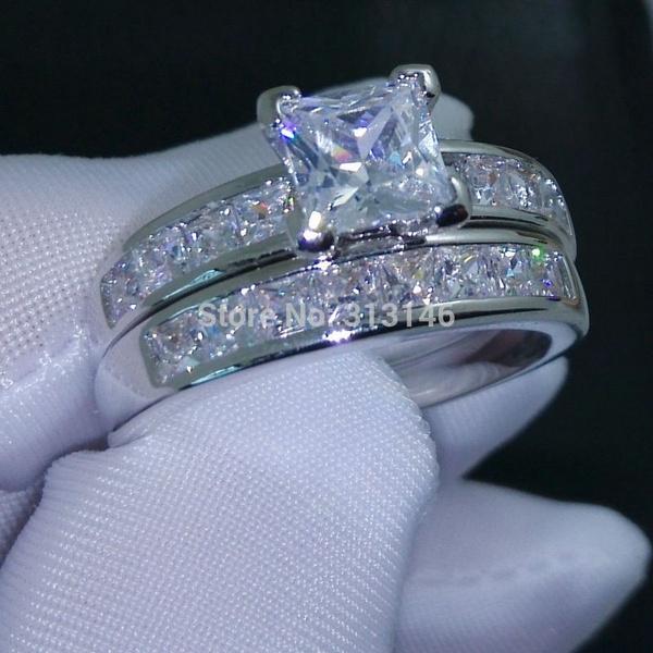 Wish Classic Princess Cut Cubic Zirconia Gemstone 18K White Gold