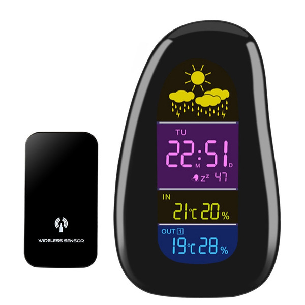 Picture of New Cobblestone Style Weather Station Lcd Digitial Alarm Clock With Wireless Sensor