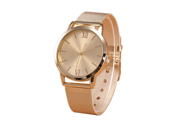 1PC Women Ladies Gold High Quality Stainless Steel Mesh Band Casual Wrist Watch