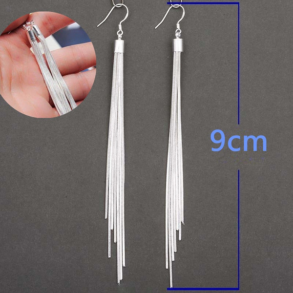 "Unique /& Elegant Pure 925 Sterling Silver Tassel 3/"" Long Fashion Hook Earrings"