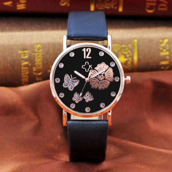 Picture of Cute Women Girls Neutral Diamond Lovely Cats Face Faux Leather Quartz Watch