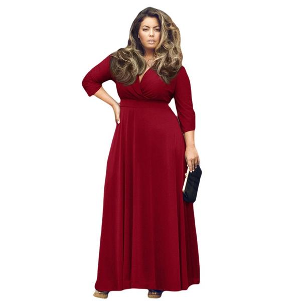 Wish Plus Size Womens Autumn Tunic Dresses Sexy V Neck 34 Sleeve