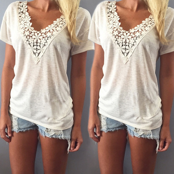 Picture of Fashion Women Summer Vest Top Short Sleeve Blouse Casual Tank Tops T-shirt Lace