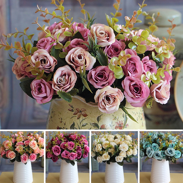 Picture of Wedding Bridal European Artificial Rose Leaf Flowers Bouquet Party Decal