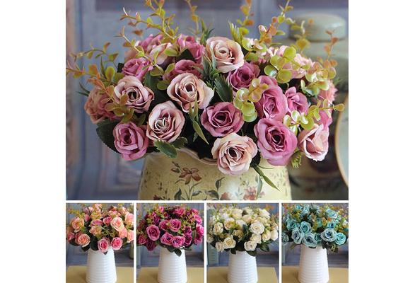 Wedding Bridal European Artificial Rose Leaf Flowers Bouquet Party Decal