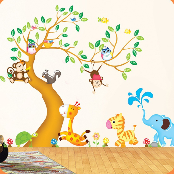Animals Tree Monkey Removable Wall Decal Stickers Kids Baby Nursery Room Decor