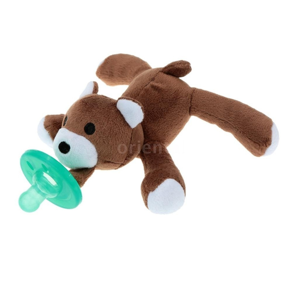 Cartoon Cute Infant Baby Silicone Pacifiers with Plush Animal Baby Nipples Baby & Kids