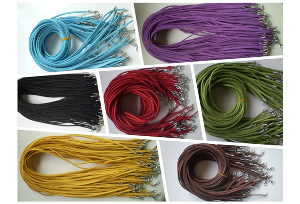 Hot New 20inches Wholesale 10 PCS Suede Leather String Necklace Cords With Clasp multiple 7 color choice 20inches QTY:10 Pcs