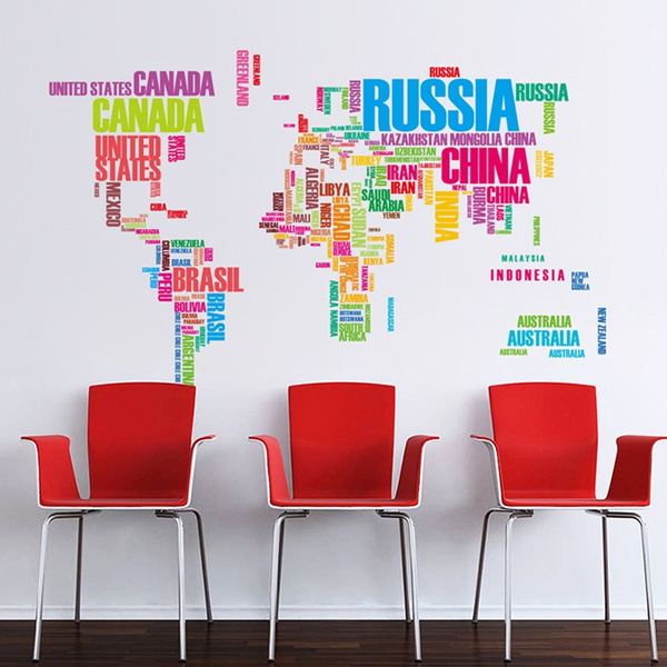 Wish diy world map in words removable art home kids room wall wish diy world map in words removable art home kids room wall sticker large vinyl wall decal sticker home decor gumiabroncs Images