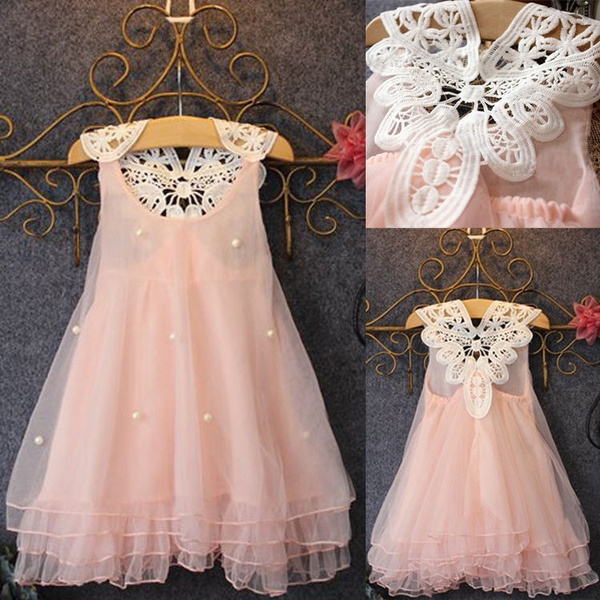 Wish Baby Girls Princess Party Dress Pearl Lace Flower Casual