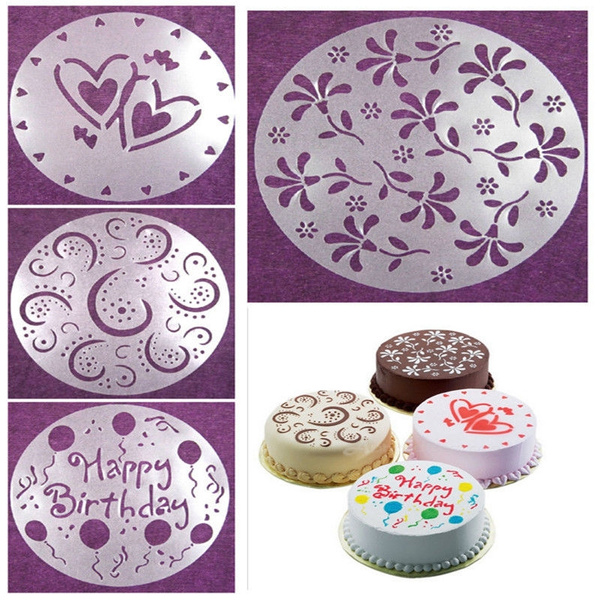 Picture of Eco Friendly Flower Heart Print Birthday Cake Mold Decorating Bakery Diy