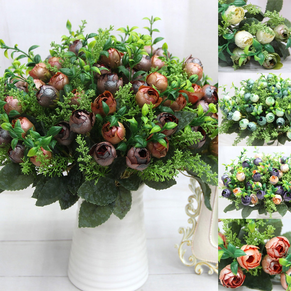 Picture of Charming 12 Head Rose Tea Bud Pearl Flower Artificial Peony Silk Flowers