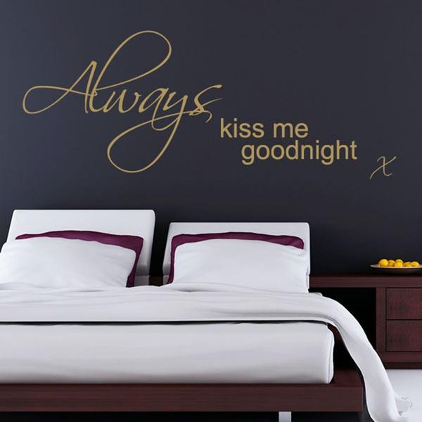 Bedroom Wall Sticker Art Always Kiss Me Goodnight Vinyl Wall Decal