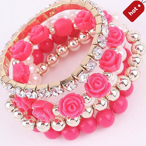 Picture of Shining Rhinestone Rose Pearl Crystal Elastic Bracelet Fashion Jewelry