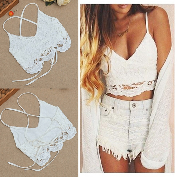 Picture of Women Bustier Tank Camisole Lace Vest Blouse Bodycon Bralette Bra Crop Top