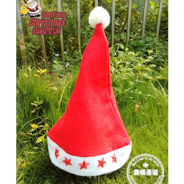 wish lighted christmas hats luminous stars in christmas hats santa claus hat fot adult and children christmas supply christmas props