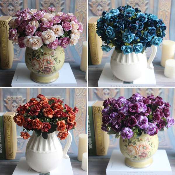 Picture of Austin 15 Heads Silk Flowers Artificial Rose Wedding Bridal Party Floral Peony