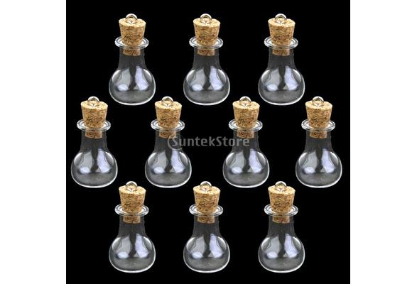 10pcs Glass Cork Bottle Jars Vials Wish Bottles DIY Pendant Flat Bulb shape