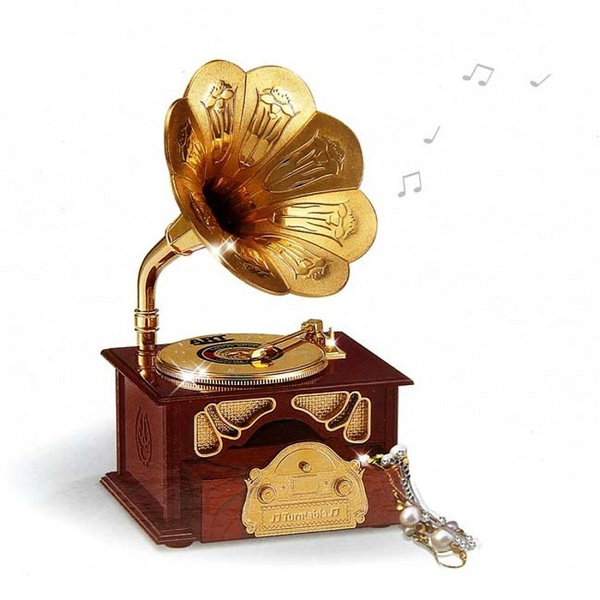 Picture of Exquisite Gramophone Music Box Jewelry Box Wonderful Valentine's Friend's Birthday Gift Vintage Creative Home Decoration
