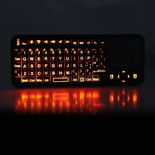 Picture of New Mini Bluetooth Wireless Handheld Keyboard Mouse Touchpad Laser Pointer Backlight Keypad Color Black