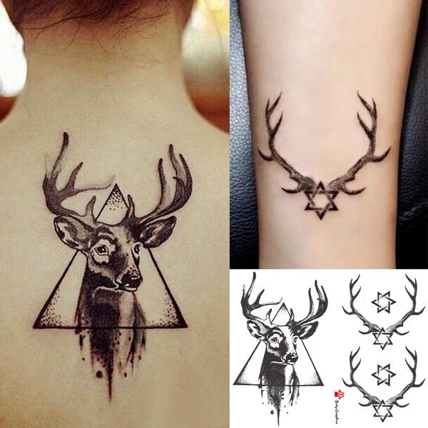 Wapiti Deer Temporary Tattoo Sticker Waterproof Tattoo Paper Fake Transfer Tattoo For Man Woman Party Photo Halloween Tattoos Body Art Makeup