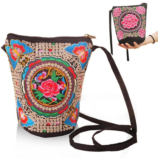 Picture of Ladies National Ethnic Tribal Shoulder Bag Boho Bucket Bag Floral Embroidered