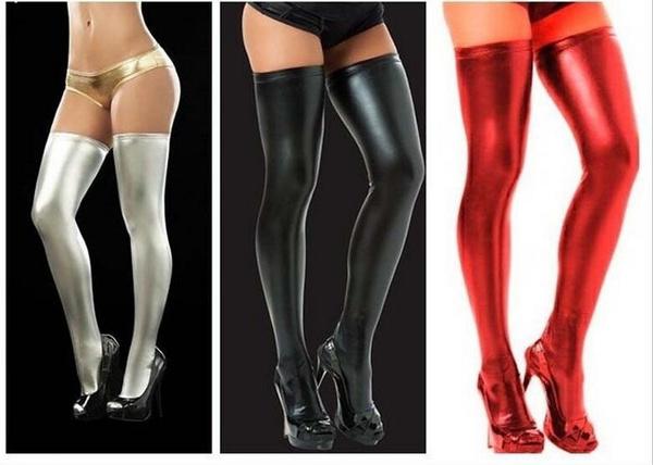 Has black fetish stocking