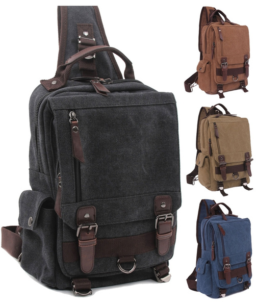 Picture of Canvas Leather Shoulder Military Messenger Sling School Travel Hiking Bag