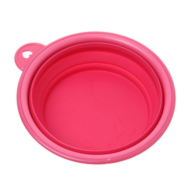 Home Pets Dish Feeding Water Silicone Collapsible Travel Bowl