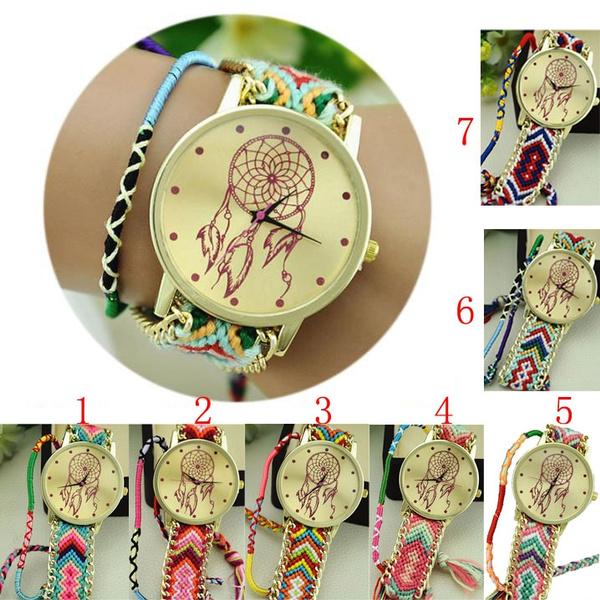 Picture of Dreamcatcher Friendship Bracelet Watches Women Ethnic Weaved Braid Dress Quartz Watches