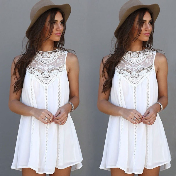 Picture of Women Lace Sleeveless Long Tops Blouse Shirt Ladies Beach Boho Mini Dress