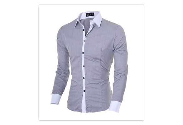 US Size XS-L High Quality 2014 New Fashion Men Slim Shirts Man Casual Long Sleeve Cotton Shirt Male Spring Autumn Tops Undershirt Clothing