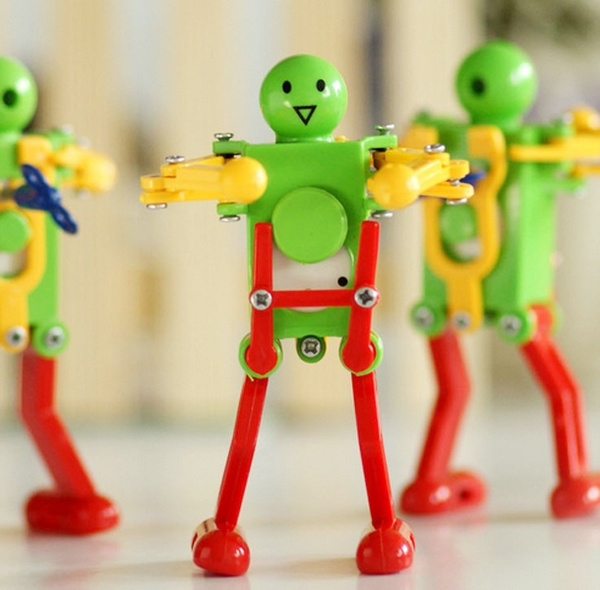 Wish Funny Cute Kid Toy Dance Twisted Ass Robot Toy Wind Up Toys For Children Diy Manual Toy Color Random