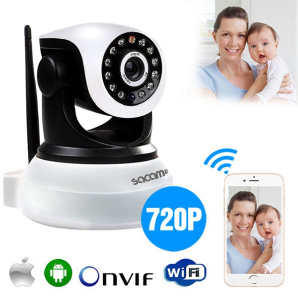 Picture of Sacam Wireless Home Security Ip Camera Network Cctv Surveillance Cameras 720p Pan Tilt Audio Night Vision Wifi Webcam White Antenna Size 100 Mm 125 Mm130 Mm Color White
